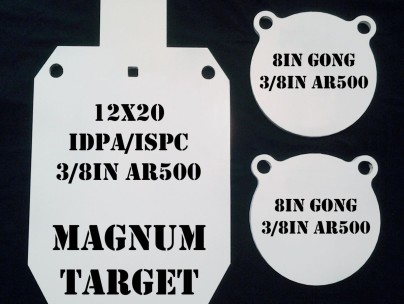 1-12inx20 IDPA/ISPC & 2-8in Gongs -3 pc shooting target set